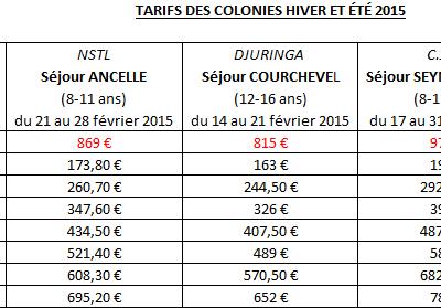 tarifs des colonies hiver/été 2015